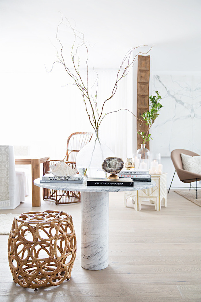 A mostly white Morocco-inspired home (you're going to love!) and how to get the look. - floating white marble table