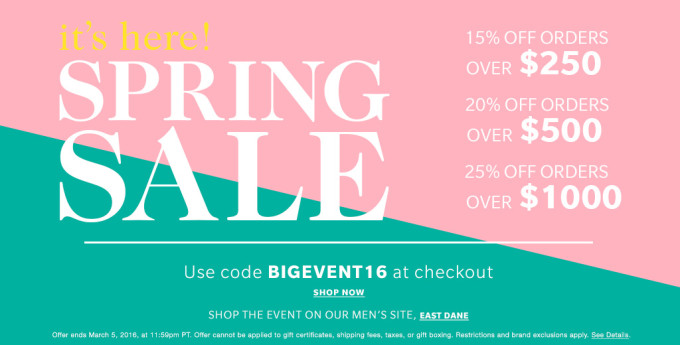 Shopbop Big Spring Sale Event