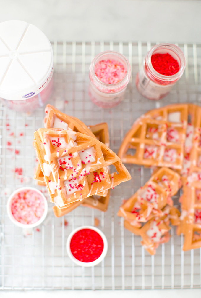 12 Inexpensive Valentine's Day Date Night Ideas (From the Comfort of Your Sofa): Pink Valentine's Day Waffles