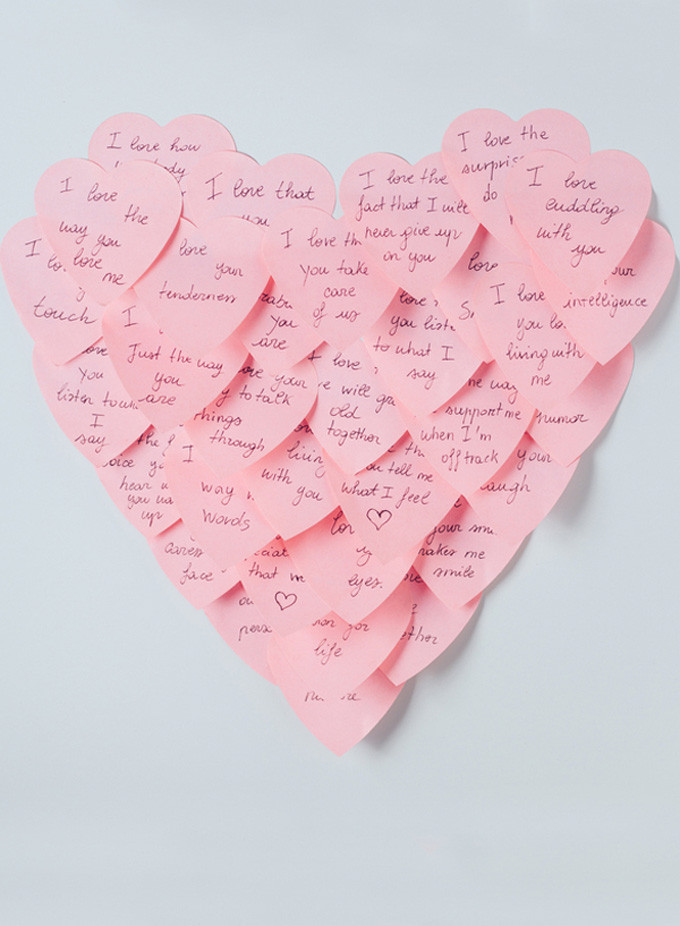 12 Inexpensive Valentine's Day Date Night Ideas (From the Comfort of Your Sofa): Post-it Notes Hearts - love notes for Valentine's Day