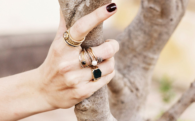 Stacks of Gold Rings: Lauren Wolf Rings - Vintage