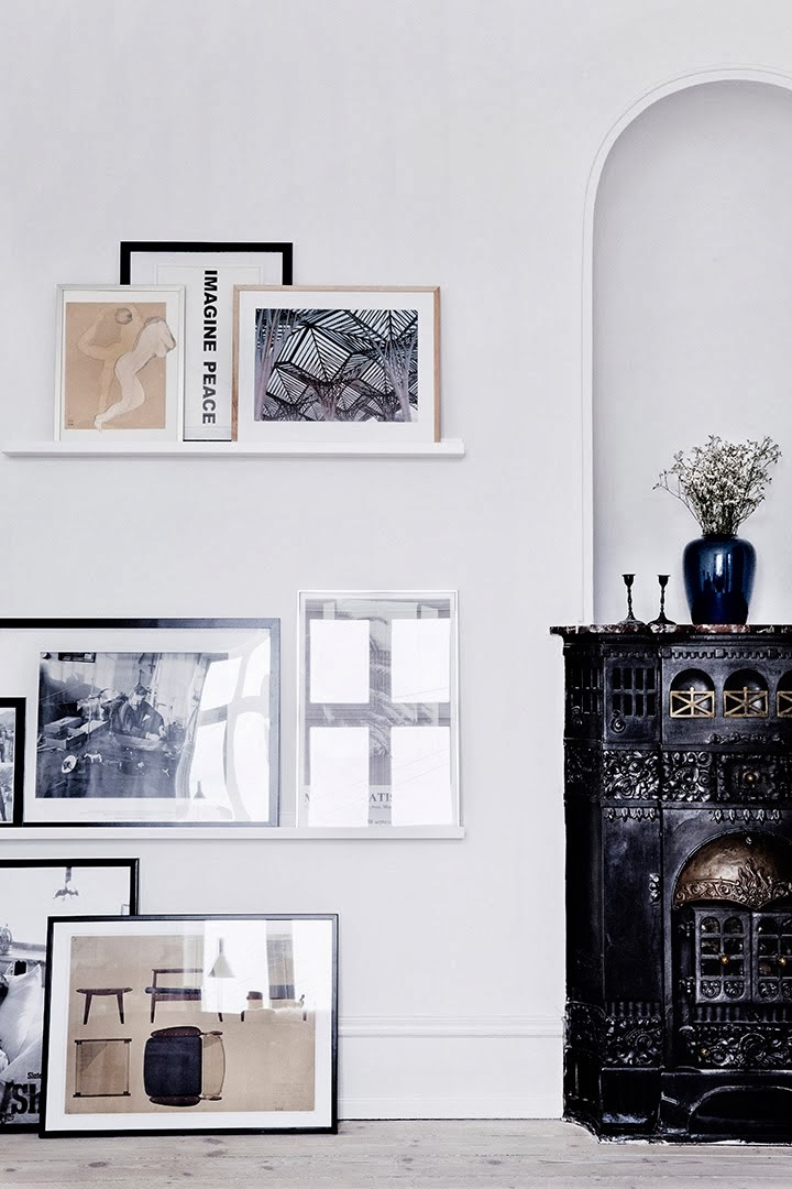 Monochromatic Black and White Leaning Wall Art