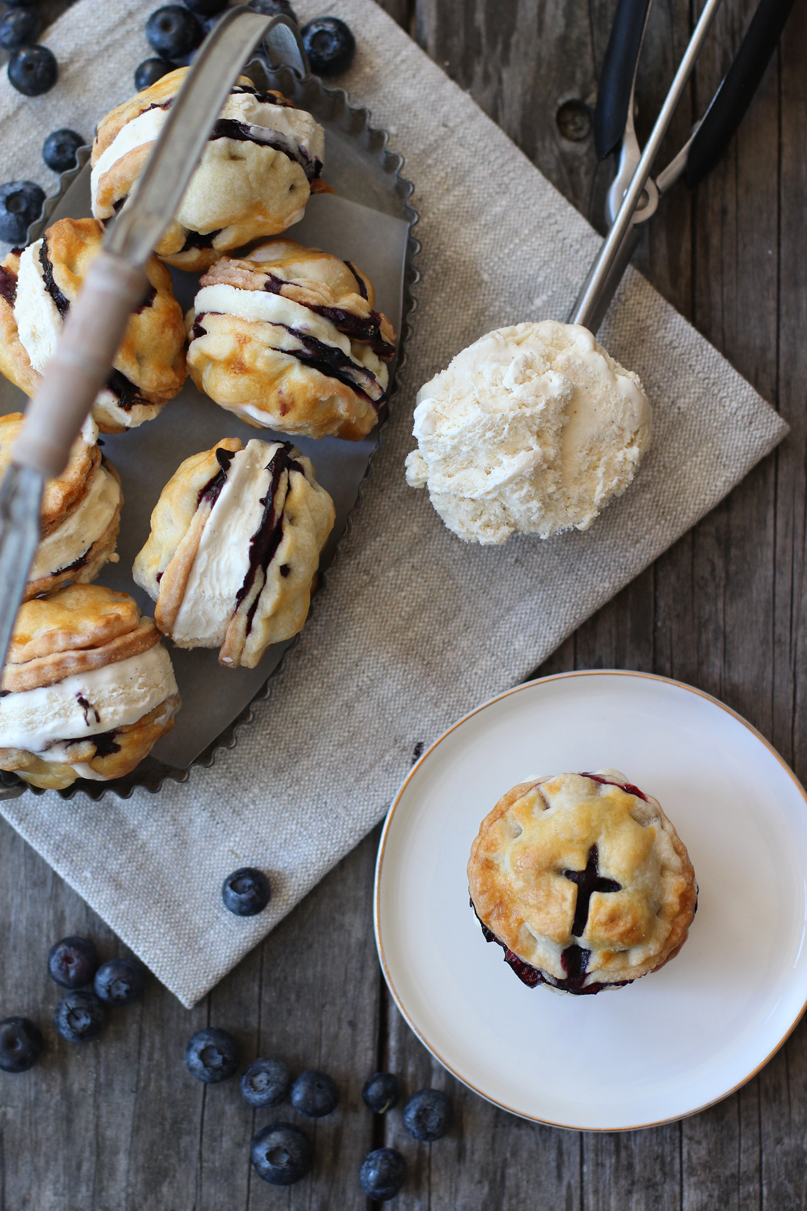 Blueberry Pie Ice Cream Sandwiches