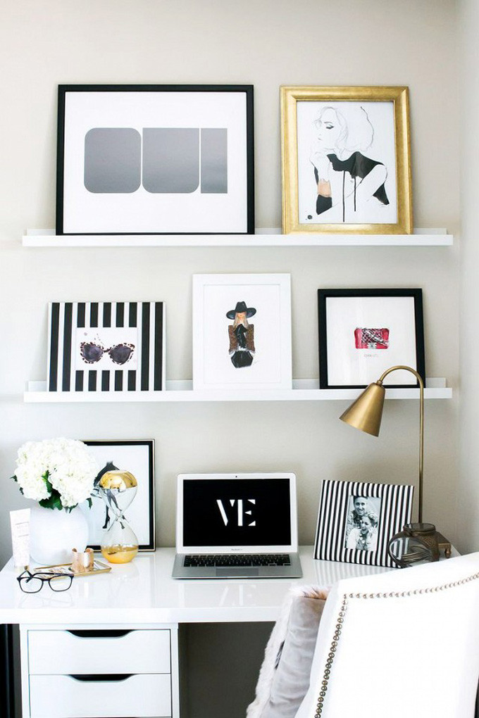 Chic Black and White Office Shelves