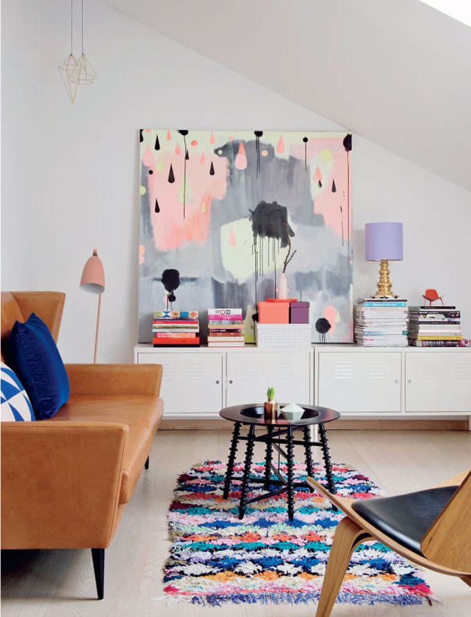 Colorful Leaning Wall Art in a Living Room