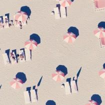 Grey Malin Miami Pink Umbrellas Vintage