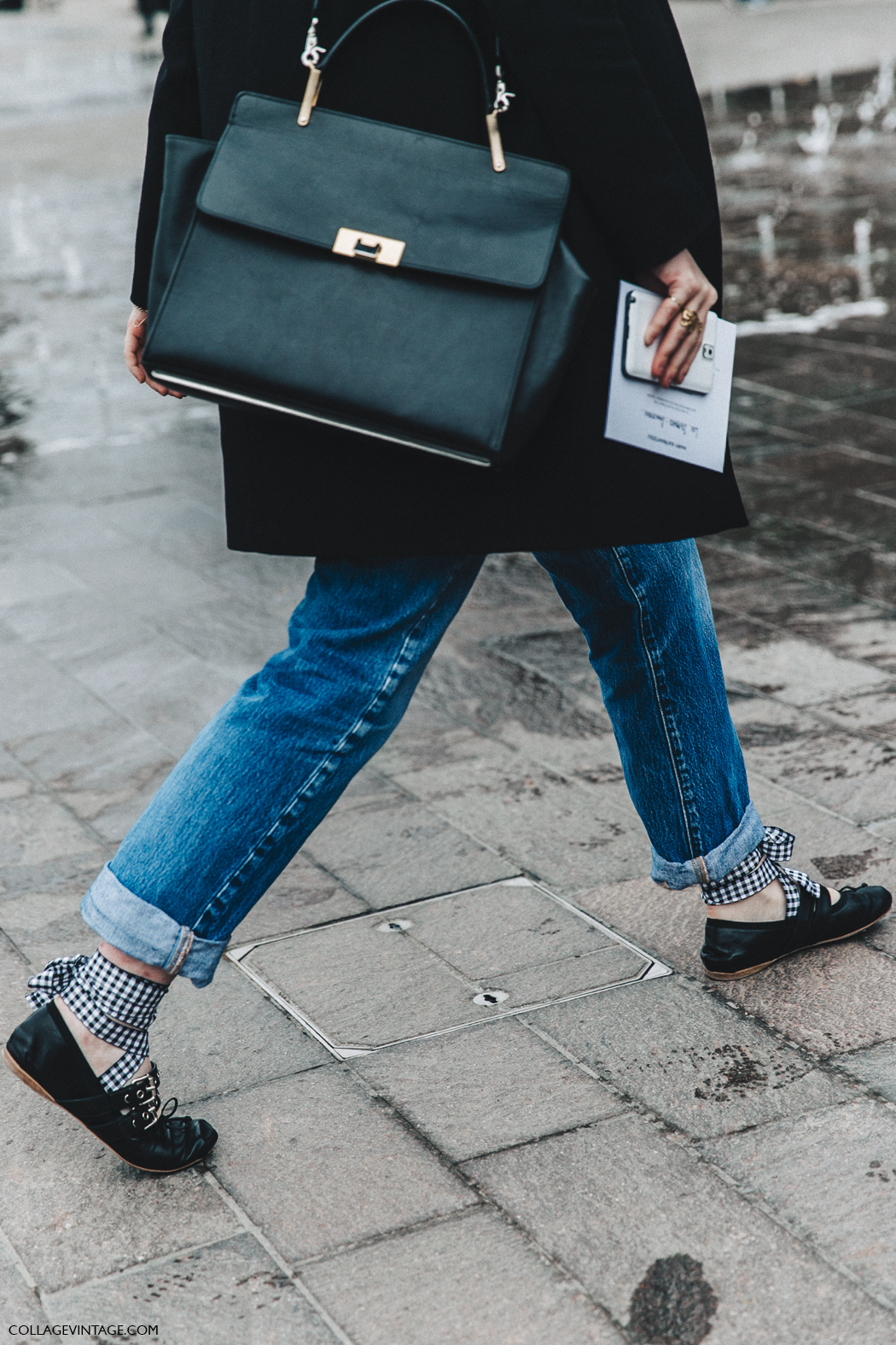 The Designer Ballet Flats You're About to See Everywhere: Miu Miu Buckle Ballerina Flats - London Fashion Week - Street Style
