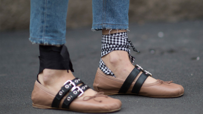 The Designer Ballet Flats You're About to See Everywhere: Miu Miu Buckle Ballerina Flats - Fashion Week - Street Style