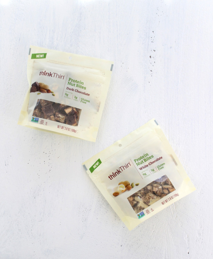 thinkThin Protein Nut Bites in White Chocolate and Dark Chocolate