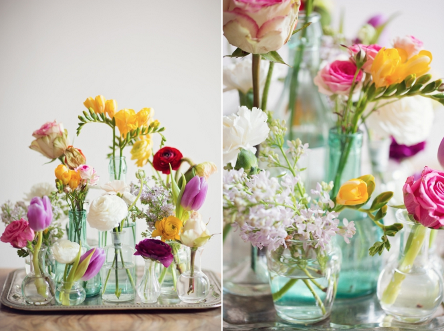 How to Make Simple DIY Flower Arrangements using grocery store flowers. Click through for a few easy tips and tricks!