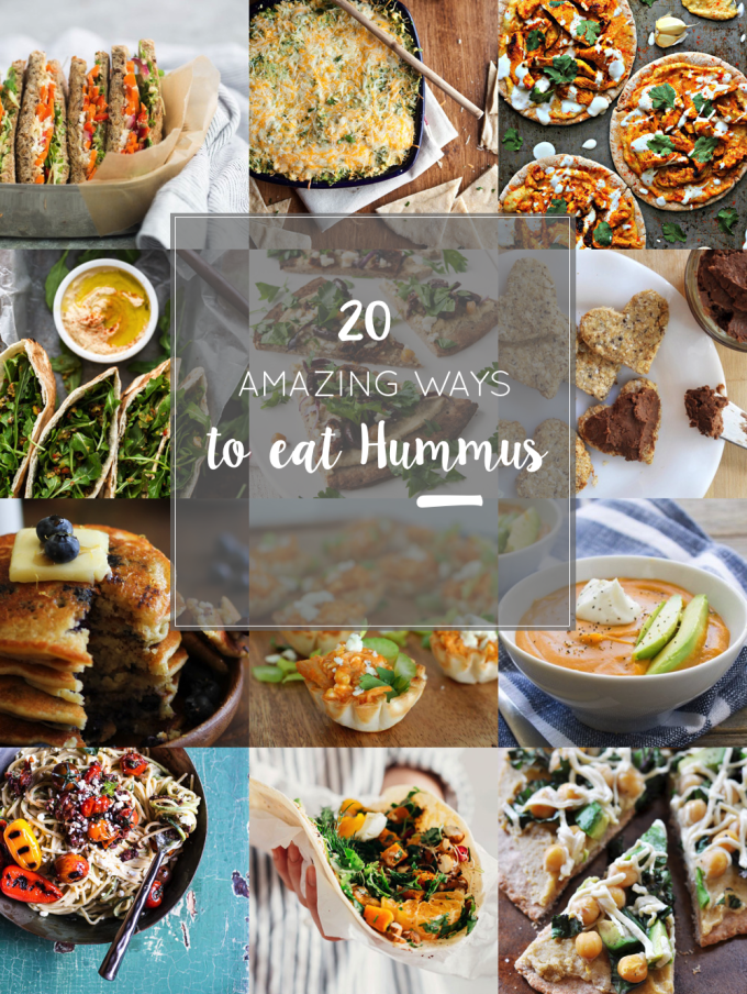 20 Amazing Ways to Eat Hummus (that will become instant favorites in your house!) Snuck into sandwiches, a substitute pizza sauce, a base for salad dressing, in soups, chocolate hummus, and even cooked right into pancakes; after scrolling through these recipes you'll be craving hummus like none other. Click through for the recipes.