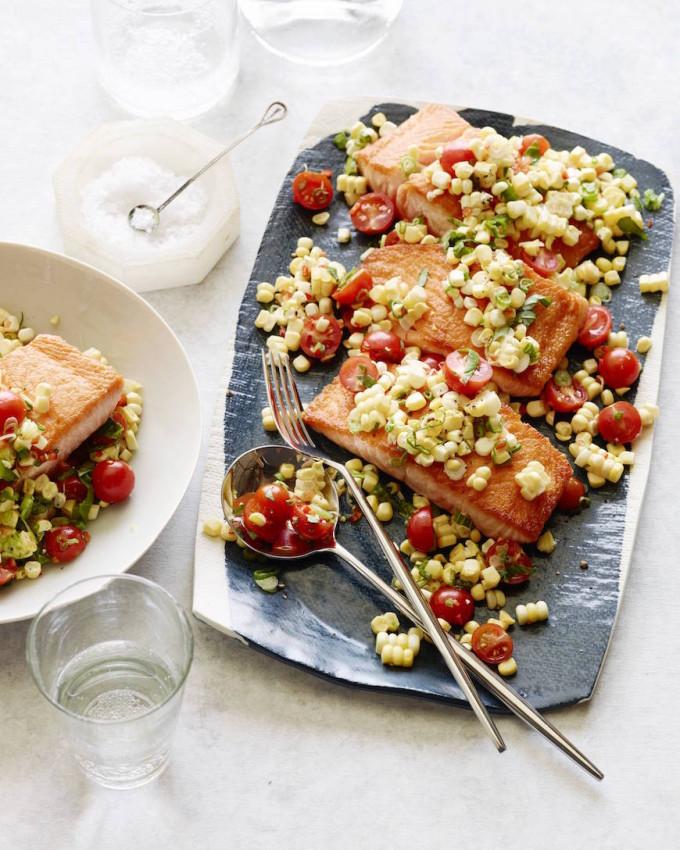 Crispy Salmon Succotash