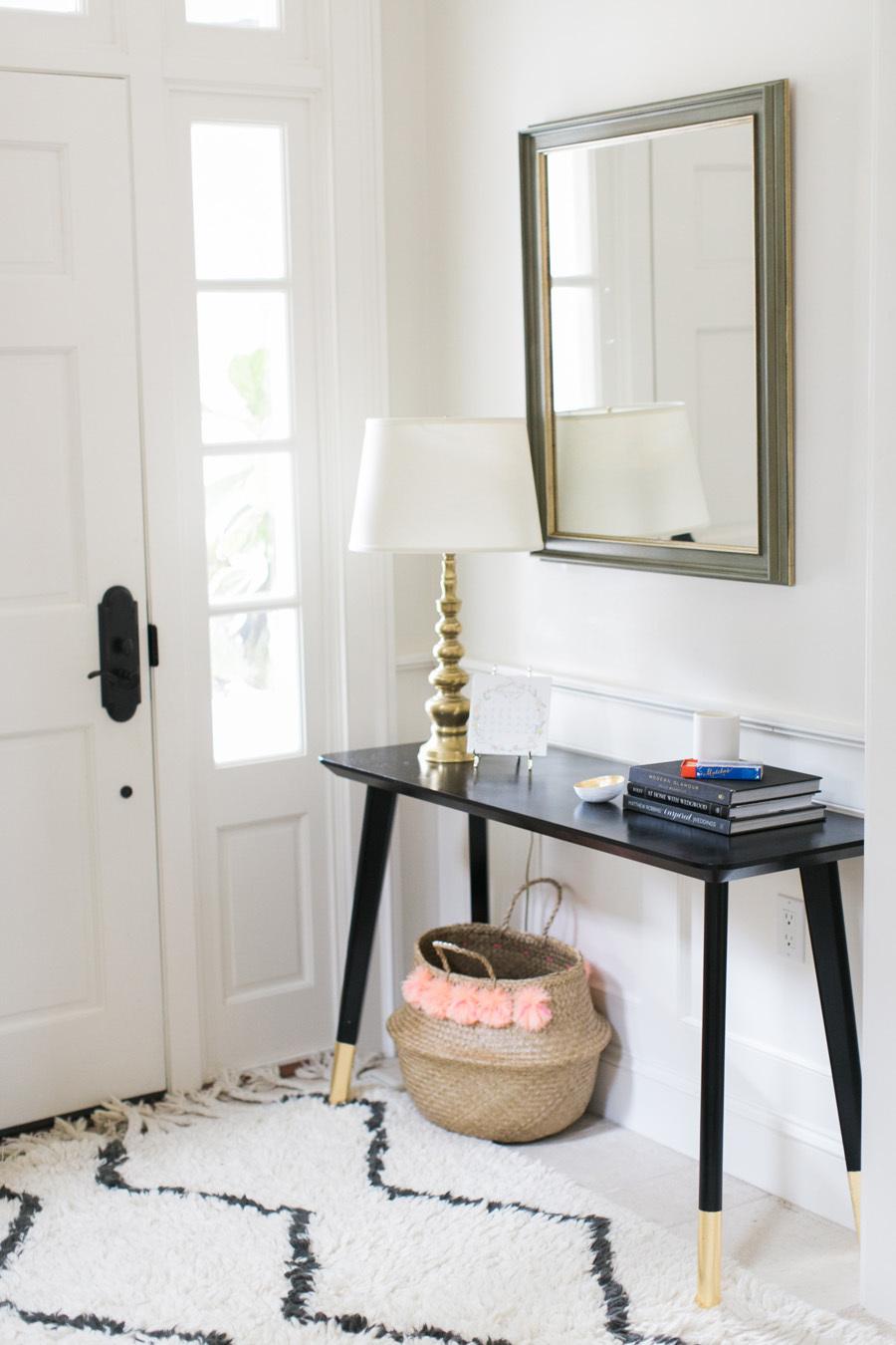 DIY Ikea Hack Entry Table and Pom Pom Basket