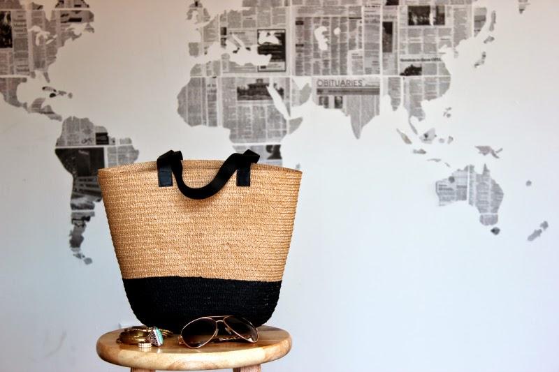 15 Favorite French Market Baskets, like this DIY Summer Straw Colorblock Market Tote