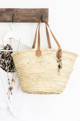 Leather & Seagrass Tote Basket