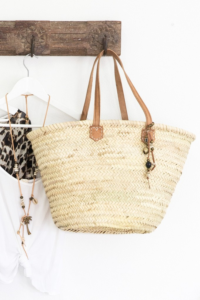 15 Favorite French Market Baskets, like this Leather & Seagrass Tote Basket