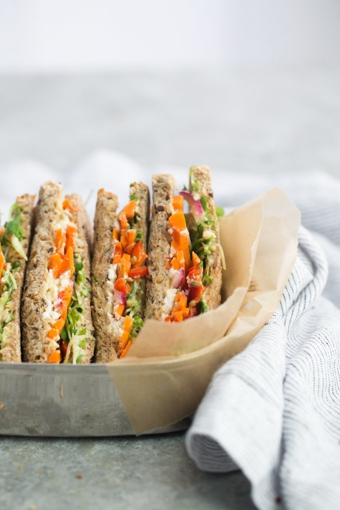 Pickled Carrot and Hummus Sandwich - 20 Amazing Ways to Eat Hummus (that will become instant favorites in your house!) Snuck into sandwiches, a substitute pizza sauce, a base for salad dressing, in soups, chocolate hummus, and even cooked right into pancakes; after scrolling through these recipes you'll be craving hummus like none other. Click through for the recipes.