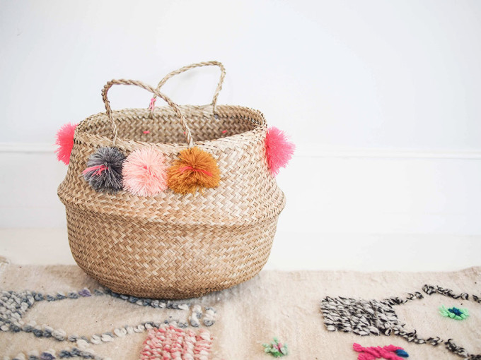 15 Favorite French Market Baskets, like this Eliza Gran Pom Pom Basket