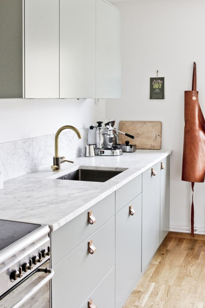 Design Dreaming: Leather Cabinet and Drawer Pulls in the Kitchen