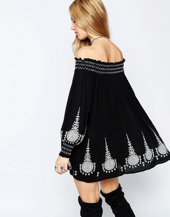 8 Unique Off-the-Shoulder Dresses, including this ASOS Premium Off Shoulder Swing Dress with Embroidery