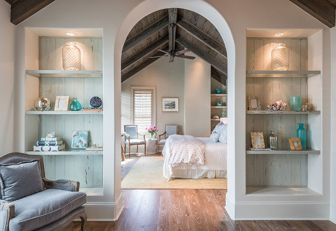 The Dreamiest Coastal Home in Seagrove Beach - Arched Bedroom Sitting Area