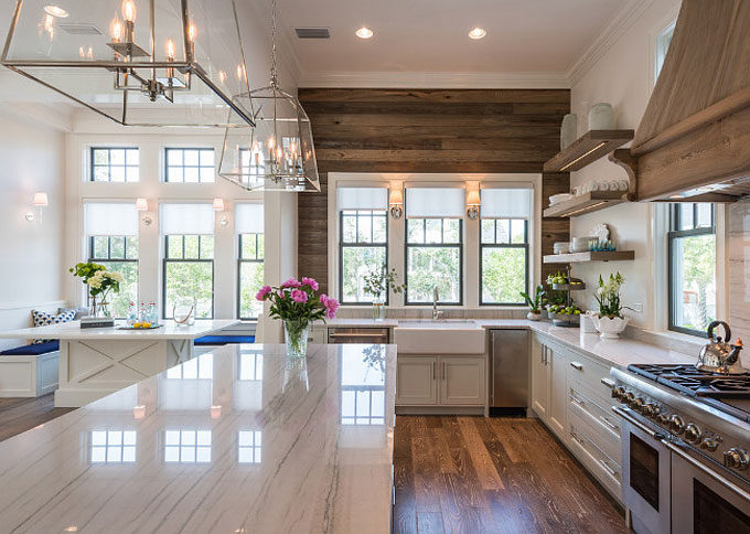 The Dreamiest Coastal Home in Seagrove Beach - White Quartzite Counters in the Kitchen