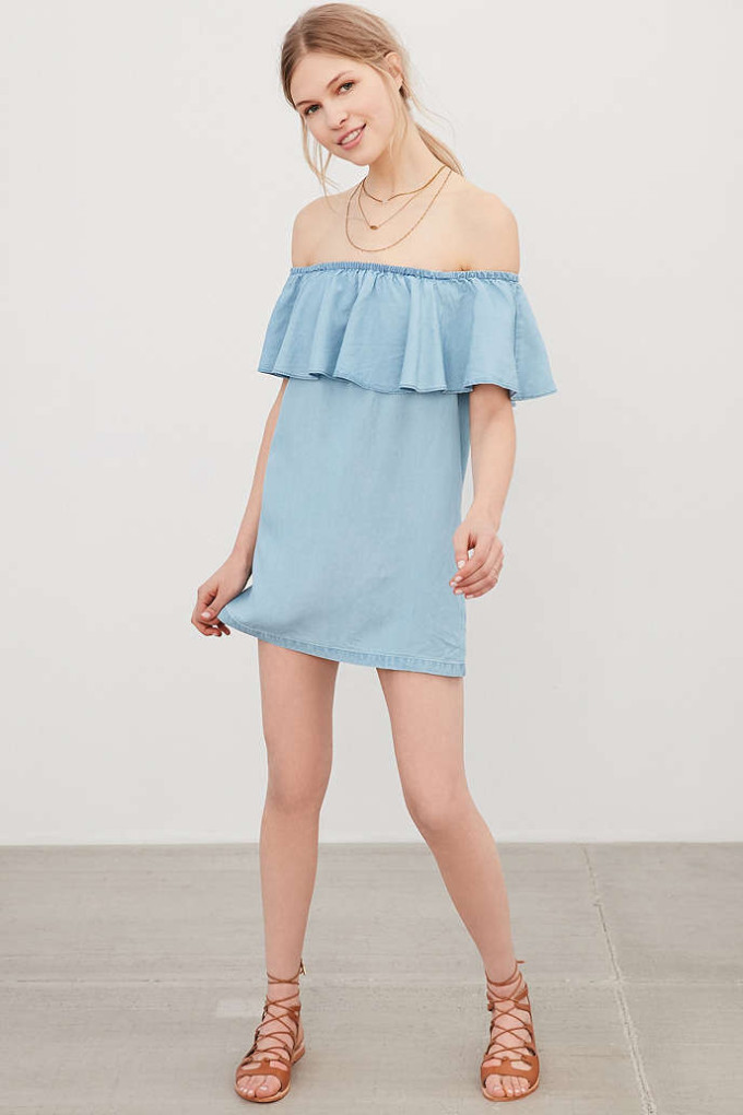 8 Unique Off-the-Shoulder Dresses, including this Cooperative Penny Chambray Off-The-Shoulder Mini Dress