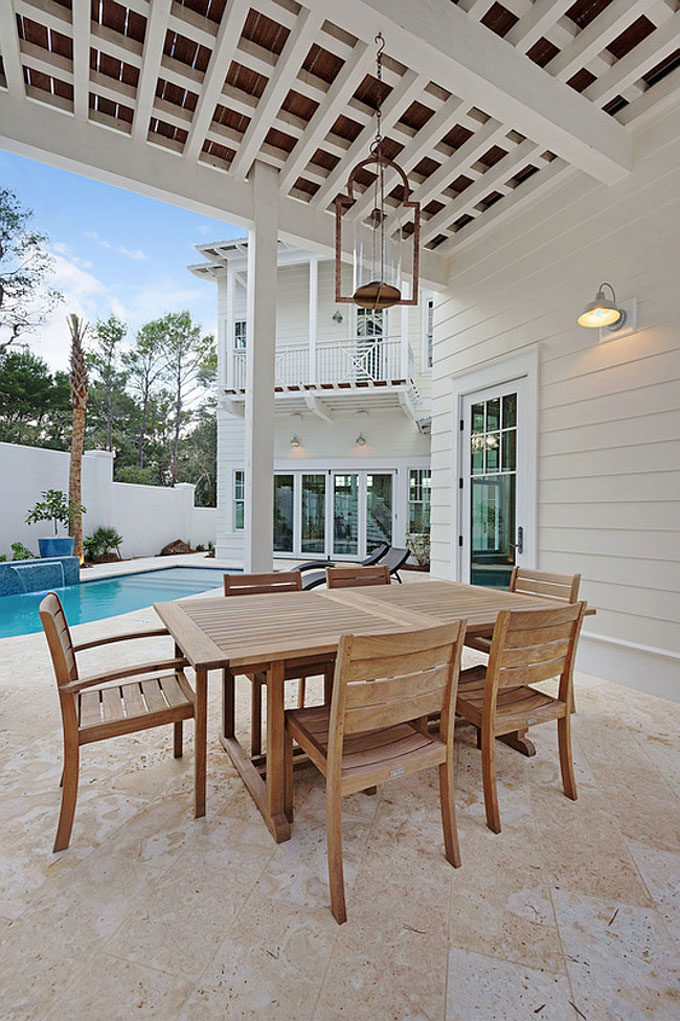 The Dreamiest Coastal Home in Seagrove Beach - Covered Patio Overlooking Pool