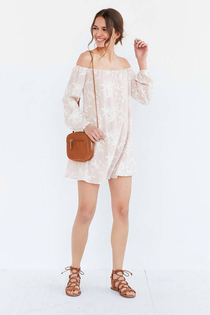8 Unique Off-the-Shoulder Dresses, including this Ecote Embroidered Off-The-Shoulder Mini Swing Dress