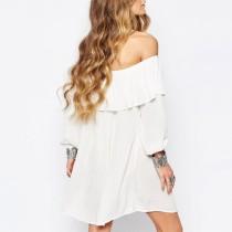 Glamorous Off Shoulder Long Sleeve Festival Dress in white