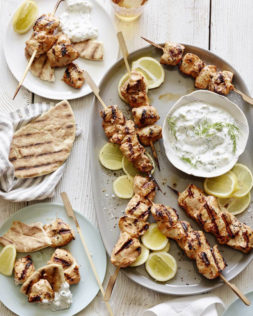 Grilled Chicken Skewers with Tzatziki (Perfect for Memorial Day Weekend, the 4th of July, or really any weeknight or weekend you want to grill something healthy this Summer!)