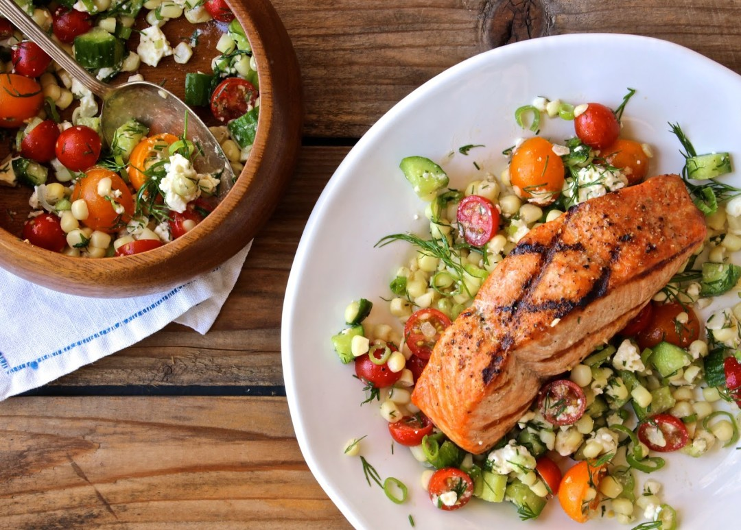 Late-Summer Salad with Salmon and Dill