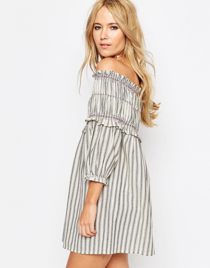 8 Unique Off-the-Shoulder Dresses, including this Off Shoulder Sundress In Stripe With Sheering Detail