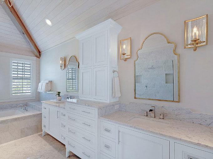 The Dreamiest Coastal Home in Seagrove Beach - White Marble Bathroom