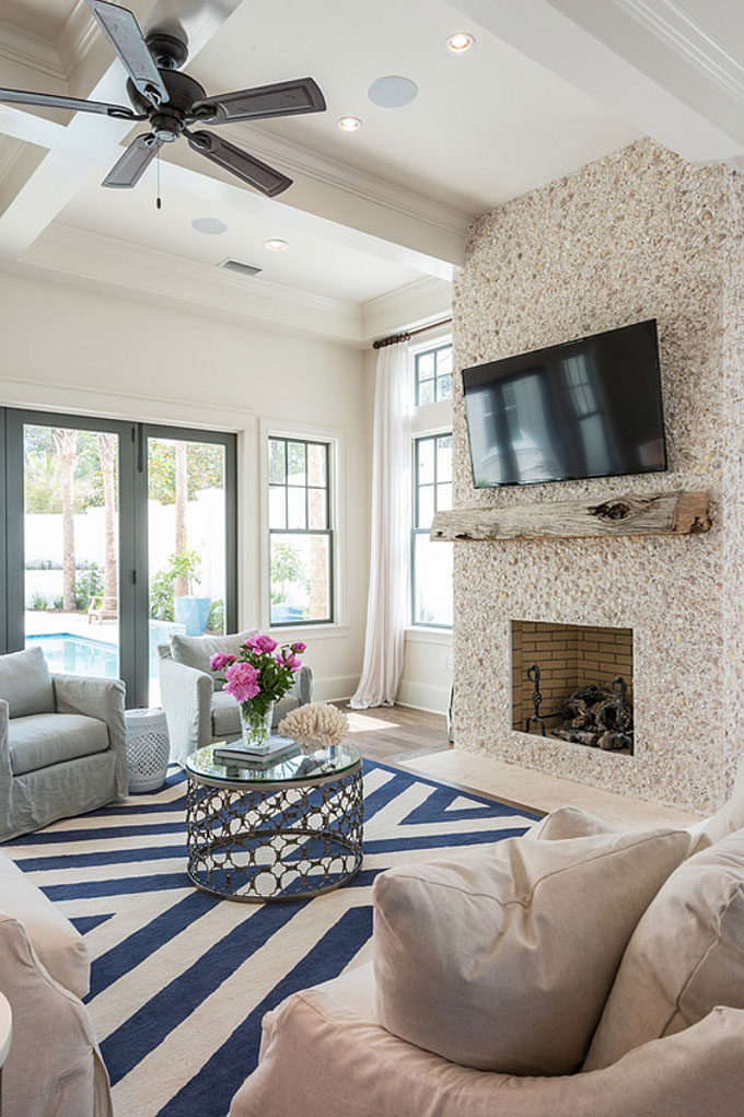 The Dreamiest Coastal Home in Seagrove Beach - Living Room With Fireplace