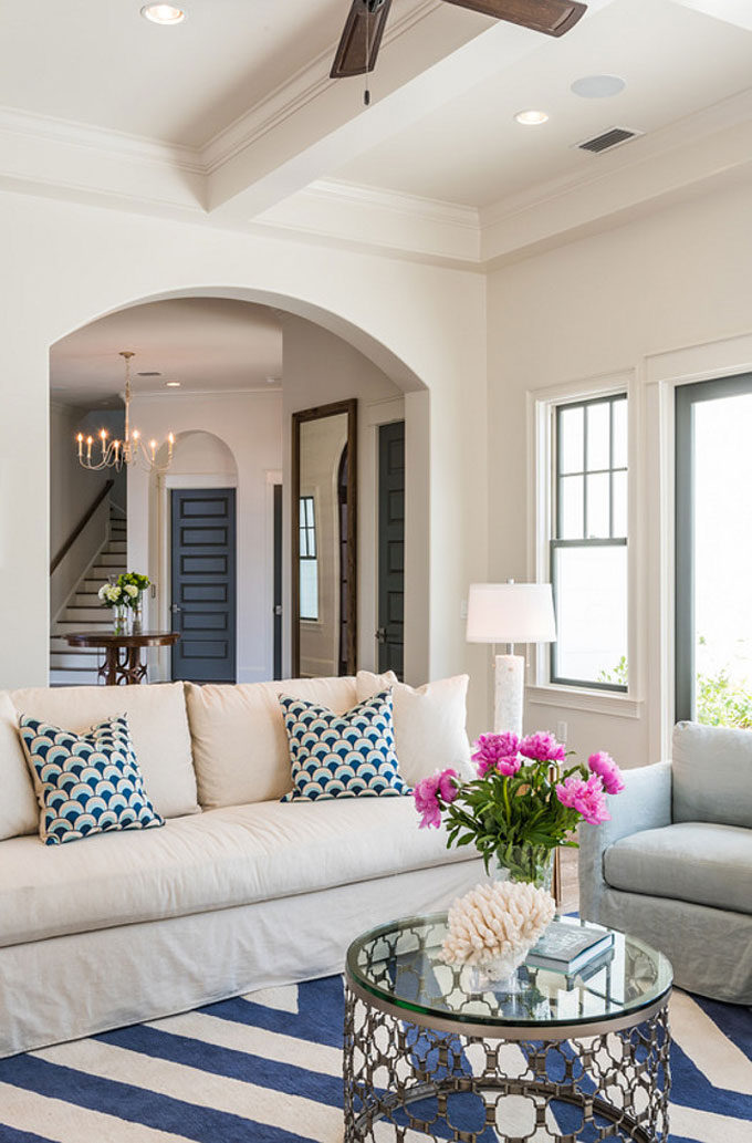 The Dreamiest Coastal Home in Seagrove Beach - Living Room with Stripes