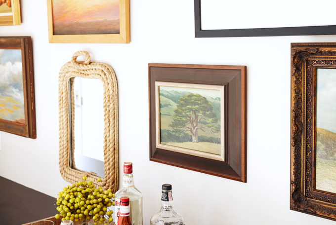 A Renovated Family Farmhouse in Woodside - Gallery Wall and Bar Cart