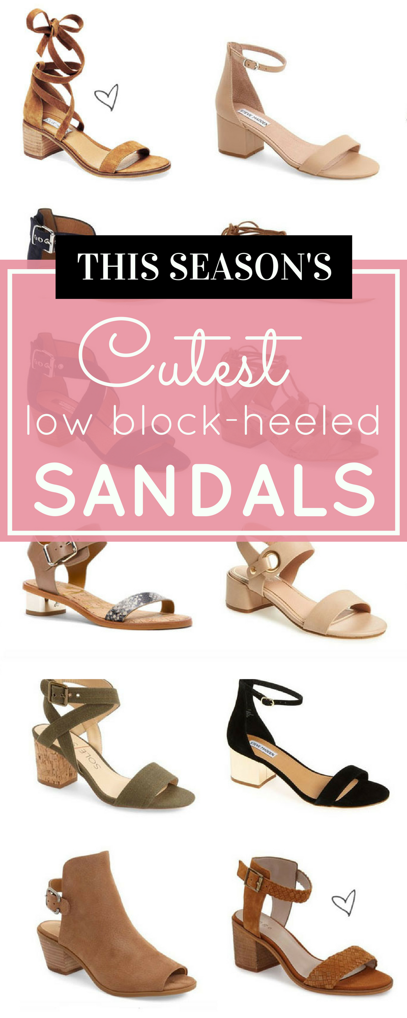 Say hello to the season's cutest low block-heeled sandals. These retro sandals go with everything and the low, sturdy covered block-heel keeps theme practical and comfortable. | glitterinc.com | @glitterinc