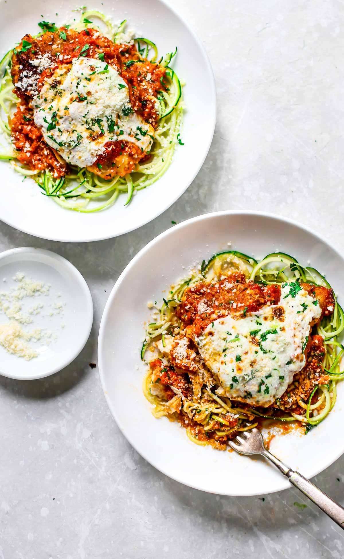 20-Minute Healthy Chicken Parmesan Over Zucchini Noodles (Yummy AND easy!)