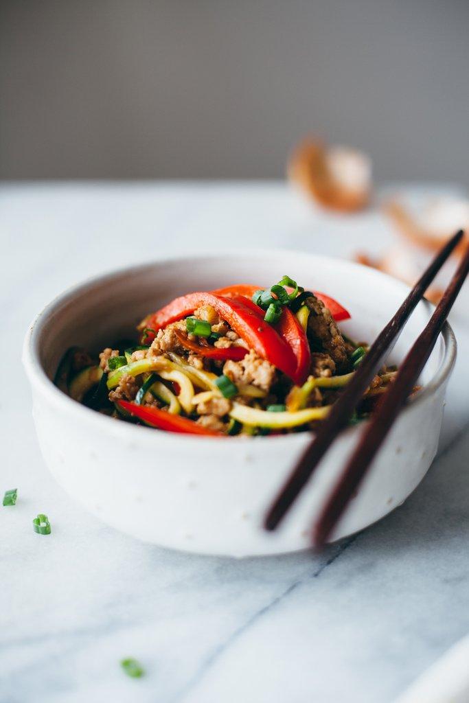 Drunken Zucchini Noodles With Ground Pork (Yum!)