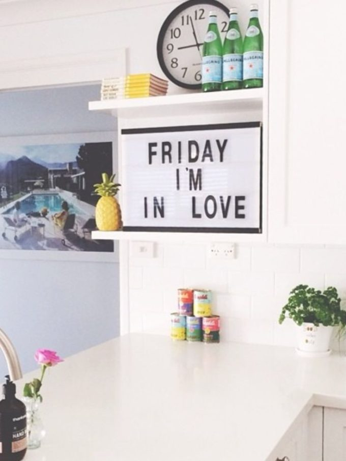 The Coolest Customizable Art: Felt Letter Boards and Black Light Boxes, plus where to buy them. (Friday I'm in Love Light Box Sign in the Kitchen)