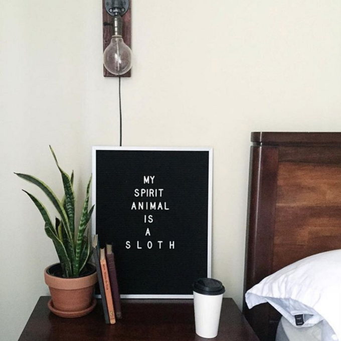 The Coolest Customizable Art: Felt Letter Boards and Black Light Boxes, plus where to buy them. (My Spirit Animal is a Sloth Felt Letterboard Sign)