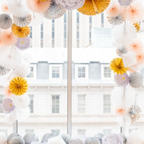 Paper-Crafted Styled Wedding Shoot in The Year's Pantone Colors, Serenity and Rose Quartz, at the Glassbox in Downtown Raleigh NC