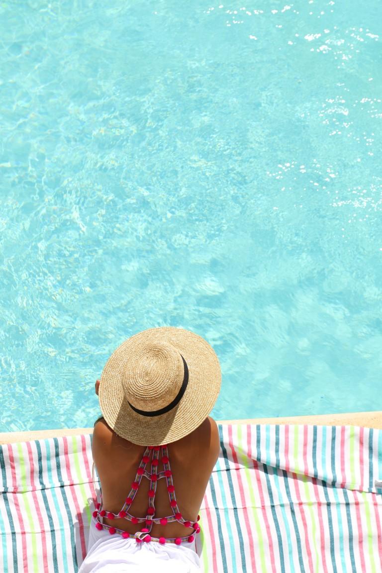 Pom Pom Dress and Hat by the Pool