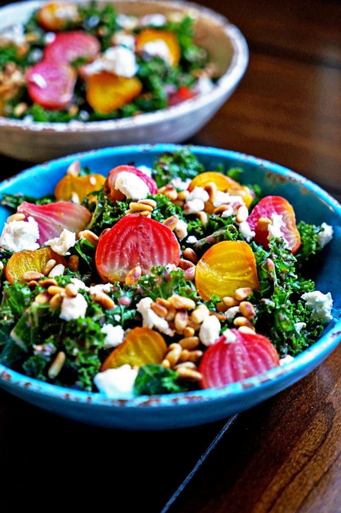Roasted Beet Salad with Pomegranate Mint Vinaigrette via Kevin is ...