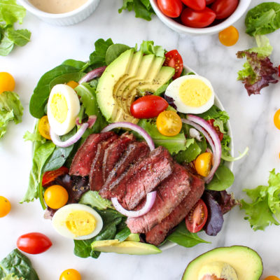 Steak Cobb Salad With Caramelized Onion Yogurt Dressing
