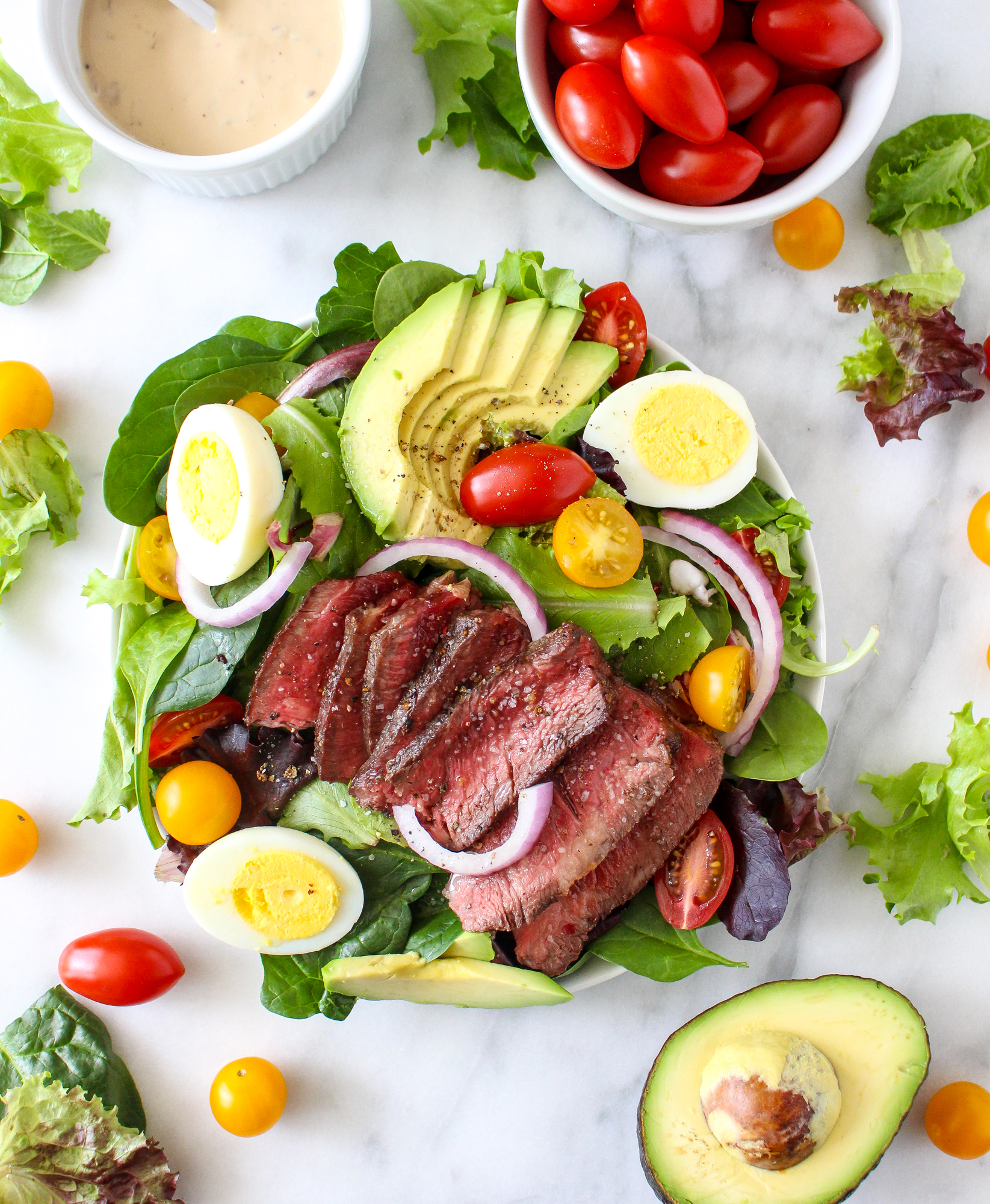 Steak Cobb Salad With Caramelized Onion Yogurt Dressing
