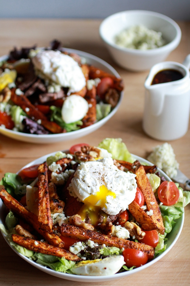 Steak and French Fry Salad with Blue Cheese Butter & Poached Egg