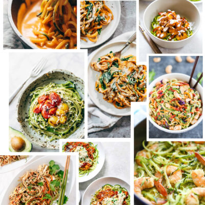 Want to make a healthier switch at lunch or dinner time? Here are 12 amazing recipes using vegetable noodles, when what you really want is pasta! | glitterinc.com | @glitterinc