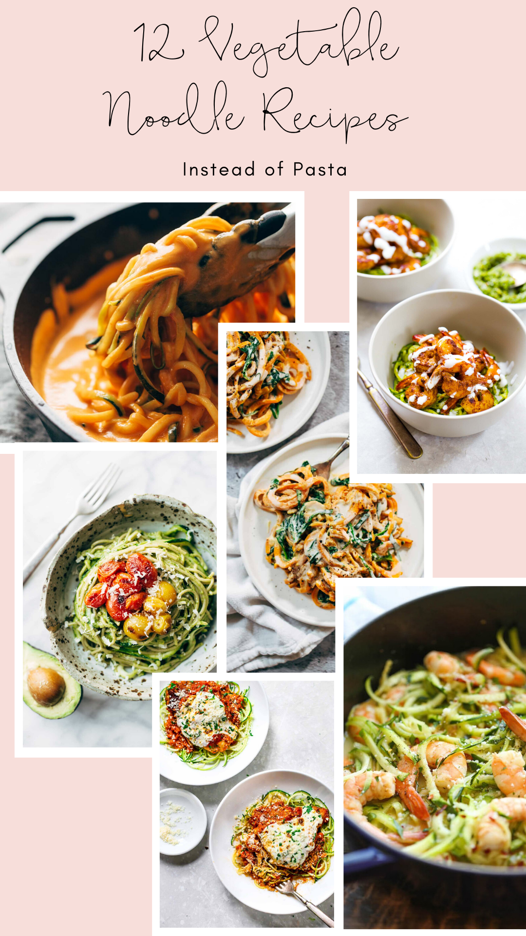 Want to make a healthier switch at lunch or dinner time? Here are 12 amazing recipes using vegetable noodles, when what you really want is pasta!   glitterinc.com   @glitterinc